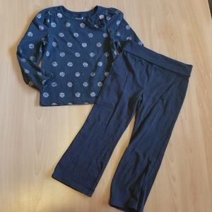 Cherokee Polka Dot Bow Accent Top Black Pants 3t